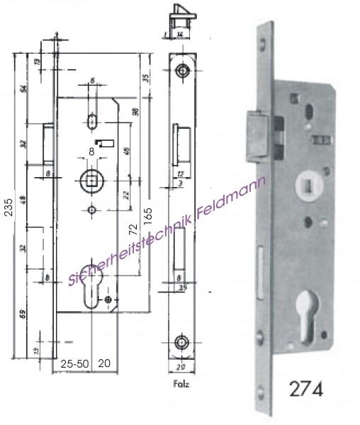 BEVER 274P Korridorschloss für Türen mit Glaseinsatz, 72/ Dornmaß 25, 30, 35, 40, 45, 50mm, St