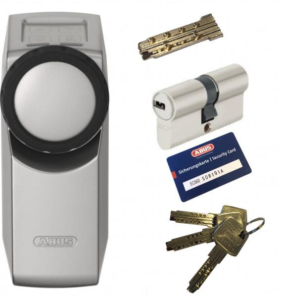 ABUS HomeTec Pro CFA3000 S silber + EC660 Doppelzylinder, 3 Schlüssel + 1 Antriebsschlüssel