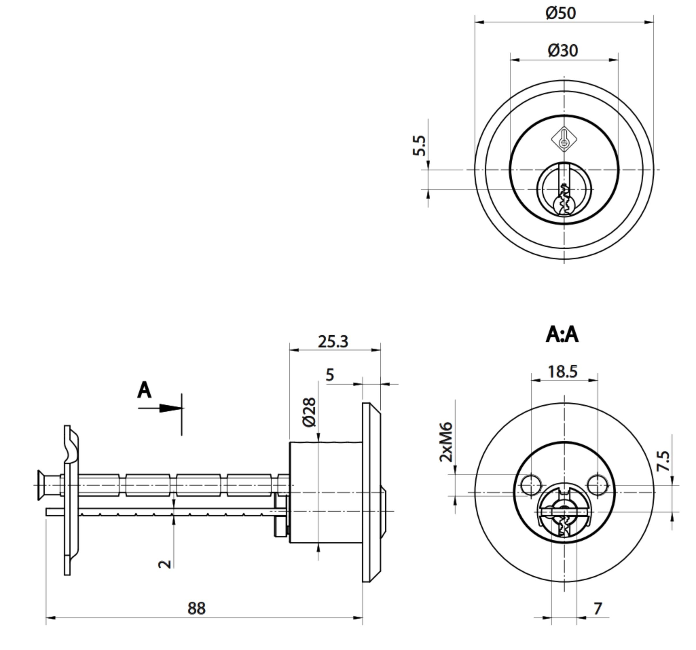 ABUS Bravus2000 Sicherheits-Schließzylinder als Außenzylinder rund D= 28mm