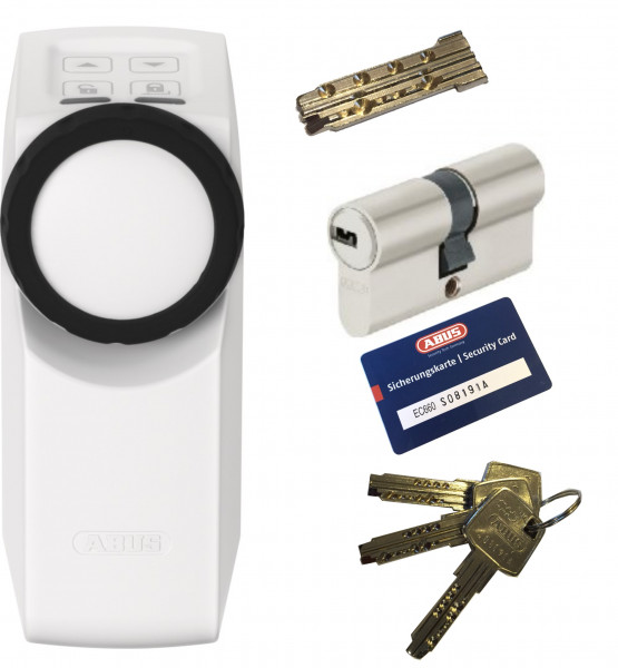 ABUS HomeTec Pro CFA3000 W weiß + EC660 Doppelzylinder mit Not-u. Gefahrenfunktion, 3 Schlüssel +-