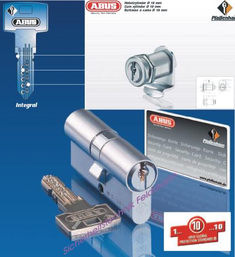 ABUS Integral J5 Hebelzylinder für Briefkästen D=18mm