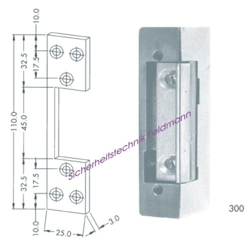 Elektrischer Türöffner mit Schließblech (Flachblech) kurz, Lochabstand 52mm, 6-12 Volt