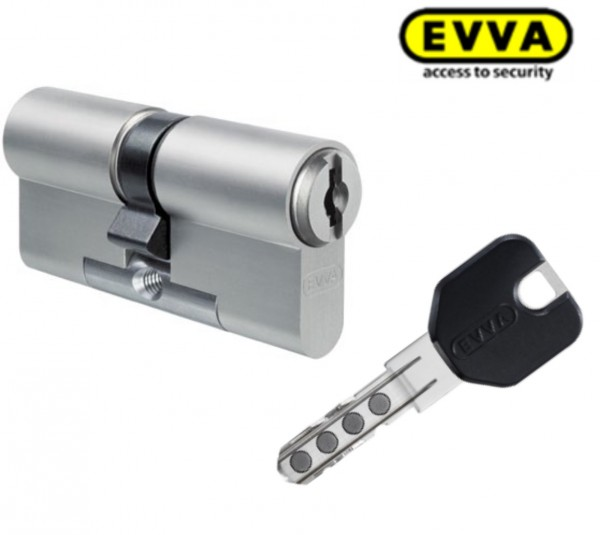 EVVA MCS Doppelzylinder - mit BSZ (N+G) Express, Schlüssel mit Designreide schwarz