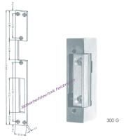 Elektrischer Türöffner mit Schließblech (Flachblech) lang, Lochabstand 52mm, 6-12 Volt