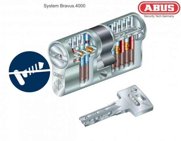 ABUS Bravus4000 mit Ziehschutz BZD DIN EN1303 - Doppelzylinder