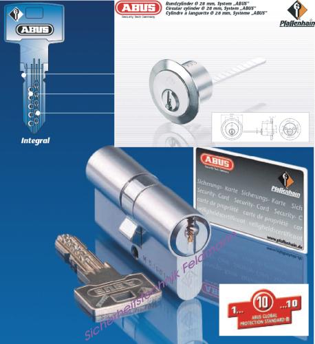ABUS Integral J5 Aussenzylinder rund D=28mm für Kastenschlösser