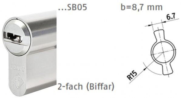 ABUS Bravus Doppelzylinder mit 2-fach Schließbart für Biffar-Türen